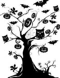 Halloween Trees Silhouettes Clip Art