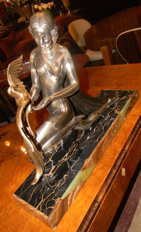 french art deco statue signed limousin woman  bird