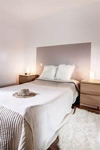 Chambre decoration taupe et blanc beige bois diy tete de for Nettoyage tapis avec canapé avec tiroir lit
