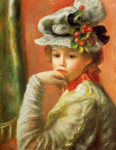 Young Girl In A White Hat Pierre Auguste Renoir 1891