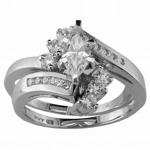 cubic zirconia swirl bridal set in 10k white gold With 10k white gold cz wedding ring sets