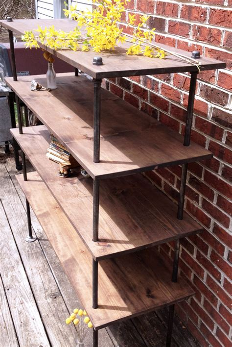 Freestanding Bookcase by Free Standing Industrial Pipe Shelf Unit