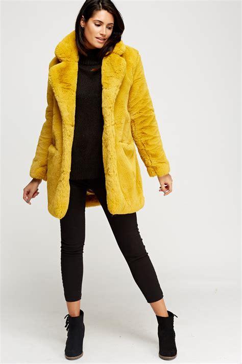 K.ZELL Mustard Teddy Bear Faux Fur Coat   Limited edition