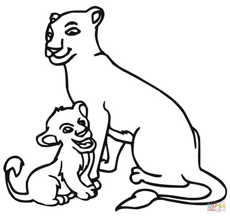 baby lion  lioness coloring page supercoloringcom