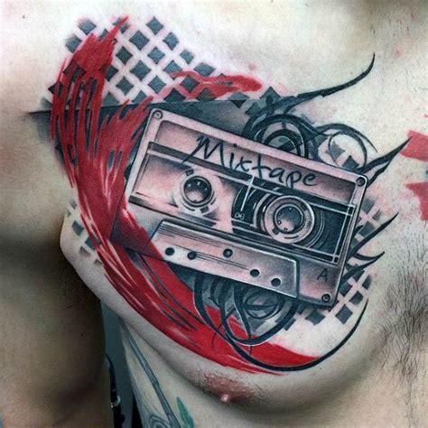 cassette tape tattoo designs  men retro ink ideas