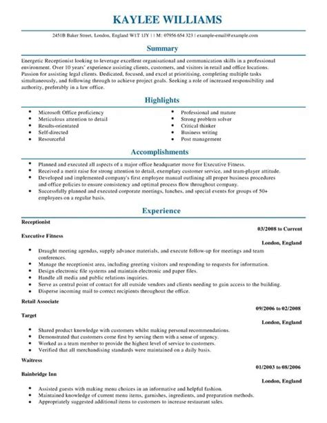 receptionist cv exle for admin livecareer