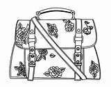 Handbag Coloring Flowered Coloringcrew sketch template