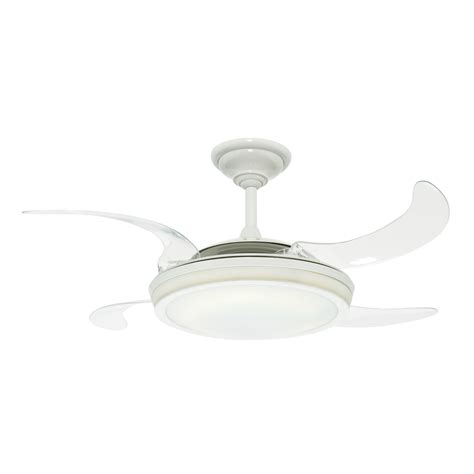 retractable blade ceiling fan with light shop hunter fanaway retractable blade 48 in white downrod