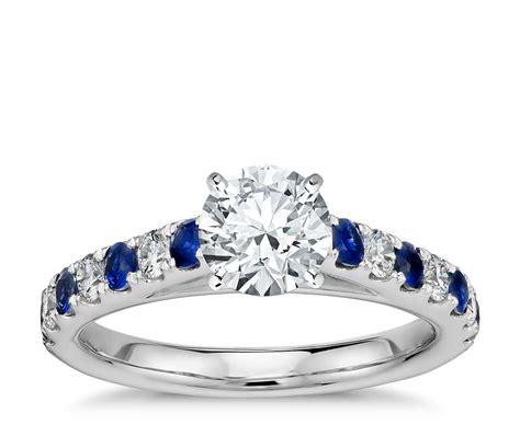 riviera pave sapphire  diamond engagement ring