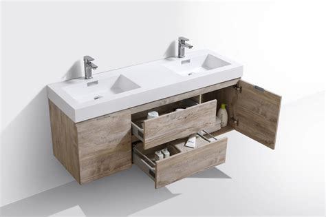 bliss  nature wood wall mount double sink modern bathroom vanity