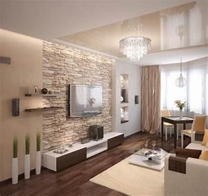 Wohnzimmer Modern Einrichten Beige Warm Natursteinwand