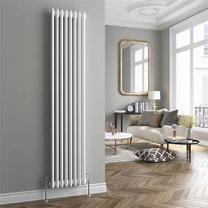 white triple panel vertical colosseum radiator With designer radiators for living rooms