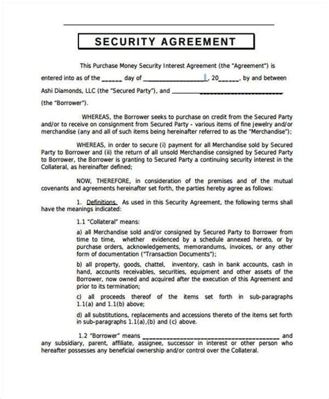 security agreement forms   ms word