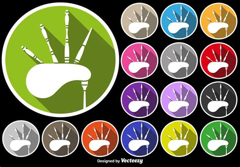 Bagpipe Icon Colorful Buttons Set  Download Free Vector