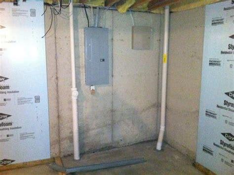 bob frame plumbing framing around electrical and plumbing in basement