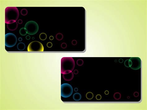 Dark Business Cards With Bubbles Vector