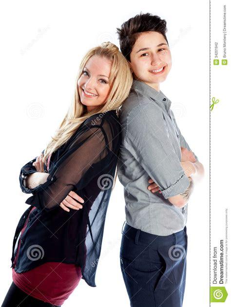 Same Sex Couple Isolated White Background Stock