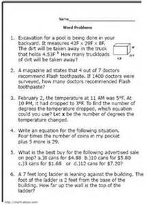 8th Grade Math Word Problem Worksheets