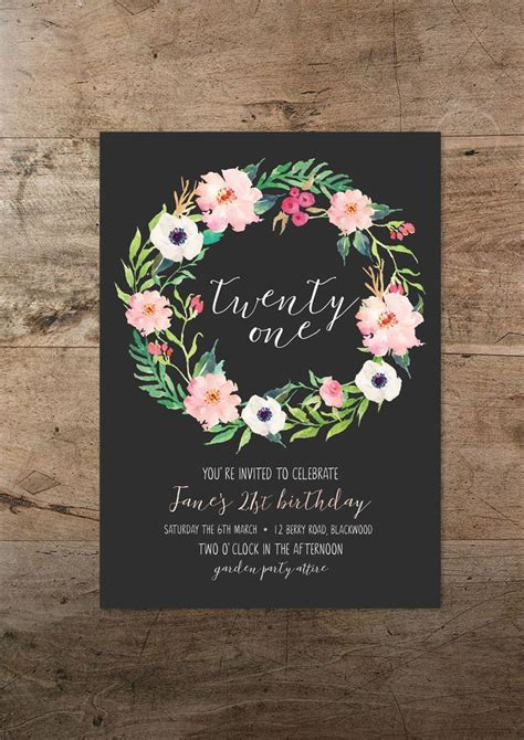 Twenty first invitation floral twenty one 21st birthday