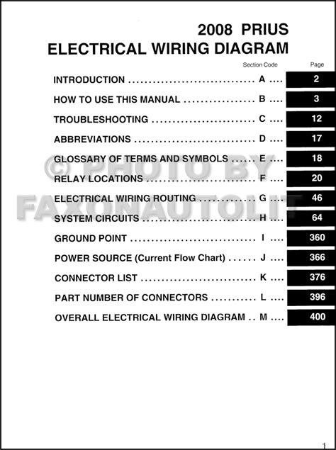 2008 toyota prius wiring diagram manual original