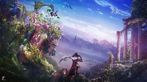 Fantastic World Fantasy Ruins Decay Landscape Wallpaper