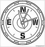 Compass Coloring North Clock Pole Drawing Printable Showing Supercoloring Tags Coloringpagesonly sketch template