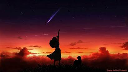 Silhouette Anime Wallpapers Sunset Star Background Stars