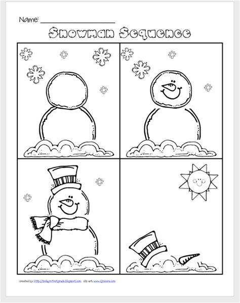 14 Best Images Of Sequencing Writing Worksheets  Preschool Snowman Sequencing Worksheet
