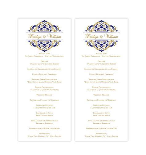slim wedding program grace navy blue gold album
