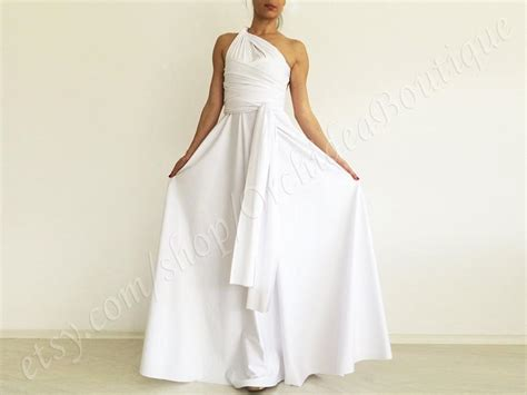 Wedding Dress White Convertible Maxi Formal Dress Gown