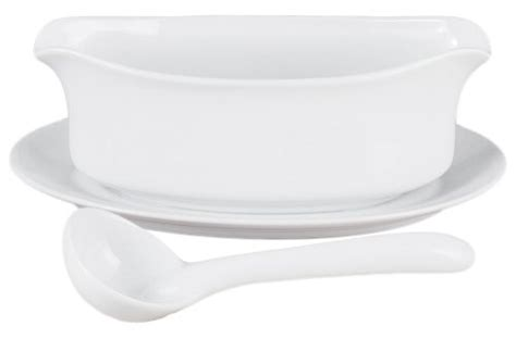 Gravy Boat And Ladle Set by Hic 18 Ounce Porcelain Gravy Boat With Attached Saucer And