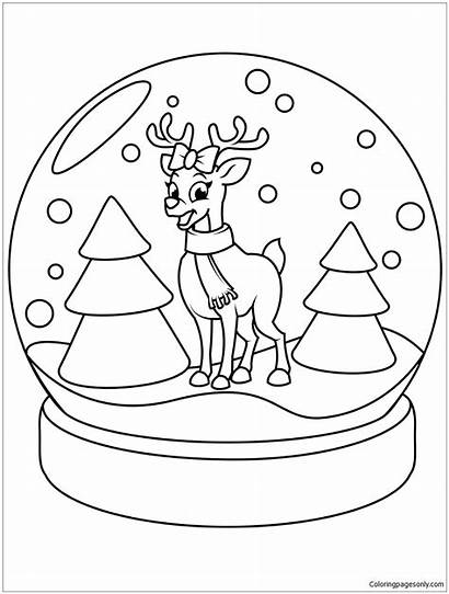 Globe Snow Christmas Reindeer Pages Coloring