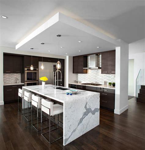 kitchen waterfall island modern kitchen vancouver