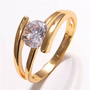 wholesale price 10k yellow gold filled womens white With wedding rings for women in gold