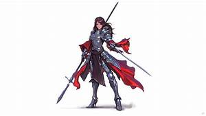 Original, Characters, Artwork, Women, Brunette, Knight, Armor, Spear, Sword, Red, Eyes, White