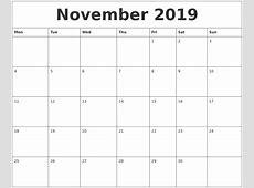 November 2019 Monthly Printable Calendar