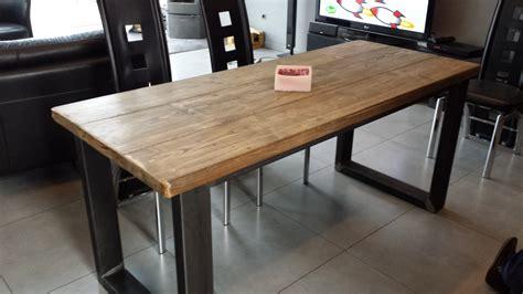 table ronde de cuisine table bois massif pied acier madame ki