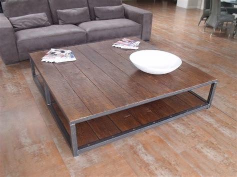 grande table basse carr 233 e 160x160 bois m 233 tal industrielle meubles et rangements par micheli design
