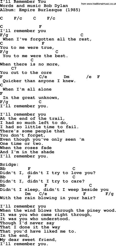 Bob Dylan Song  I'll Remember You, Lyrics And Chords