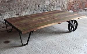 Roulettes Industrielles Anciennes : 53 id es de table basse d co pour votre salon ~ Teatrodelosmanantiales.com Idées de Décoration