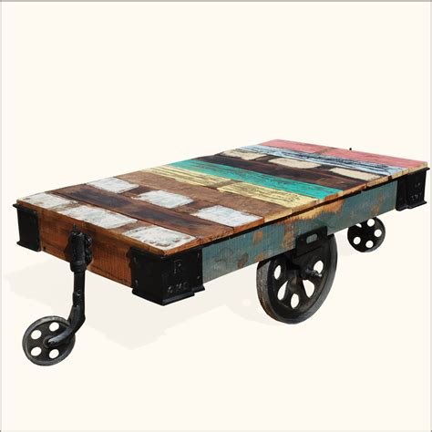 wooden table with wheels rustic wood rolling factory cart industrial coffee table