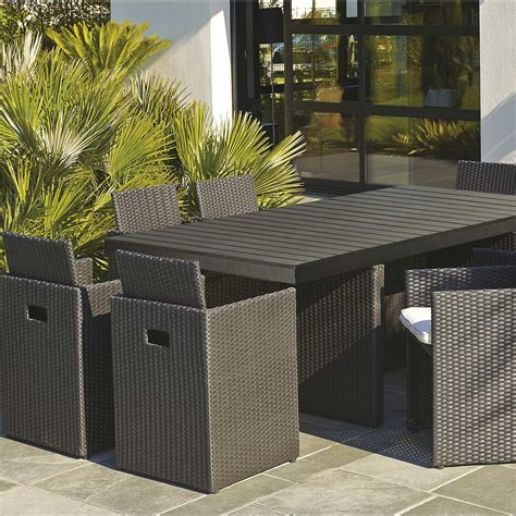 Salon de jardin Encastrable ru00e9sine tressu00e9e noir 1 table + 8 fauteuils | Leroy Merlin