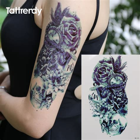 death skull rose feather lotus pirate shoulder  tattoo waterproof temporary men henna fake