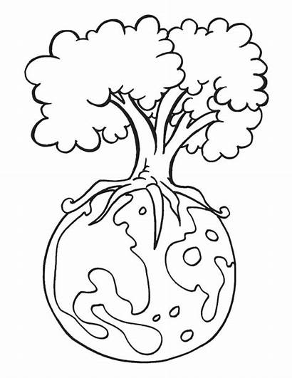 Earth Coloring Pages Tree