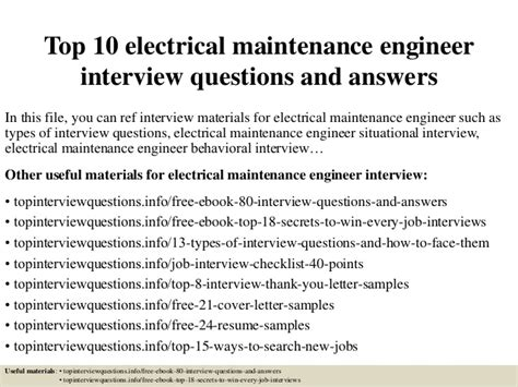 top 10 electrical maintenance engineer questions