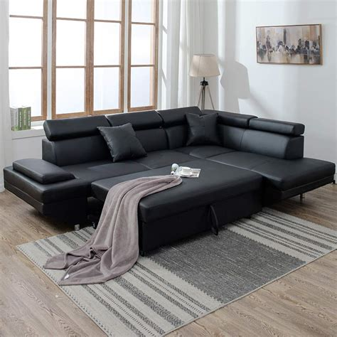 Contemporay Sofa by New Modern Contemporary Leather Sectional Corner Sofa Bed