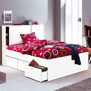 Lit Tiroir 140 : lit tiroir 140 blanc ~ Teatrodelosmanantiales.com Idées de Décoration