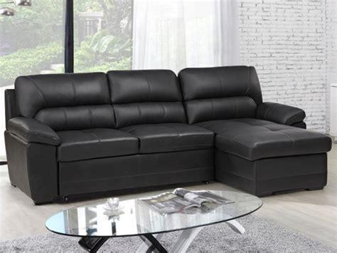 canaper d angle divano letto angolare in pelle etienne nero o grigio