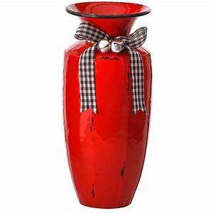 12, U0026quot, Red, And, Black, Metal, Christmas, Enamel, Vase, With, Ribbon, And, Bells, -, Walmart, Com