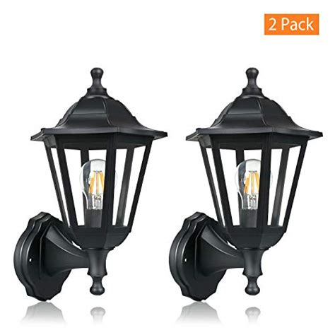 fudesy 2 wall lanterns outdoor 12w wired electric led